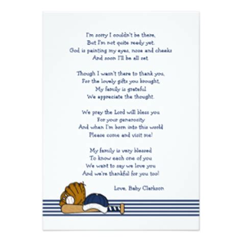 Baby Shower Thank You Poems From And by Boy Baby Shower Poem Gifts On Zazzle