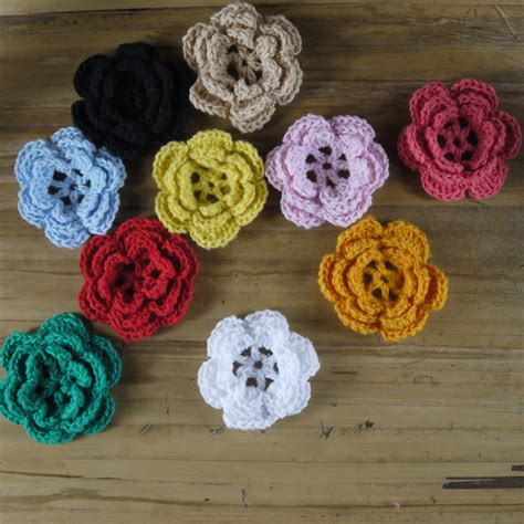 Handmade Crochet - handmade crocheted diy colorful crochet applique 3d flower