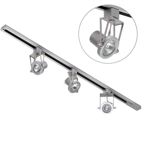Gu10 Track Light Fixtures 1 Metre Track Light With 3 Gu10 Halogen Bulbs Silver