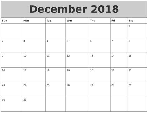 printable calendar dec jan december 2018 my calendar