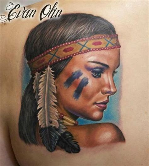 tattoo for indian girl full color realistic natalie portman inspired indian girl