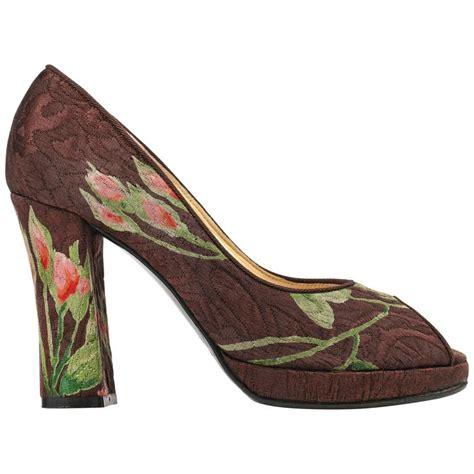 Dolce Gabbana Brocade Pumps by Dolce And Gabbana Brown Floral Brocade Peep Toe Platform