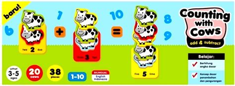 mainan edukasi anak counting with cows add subtract