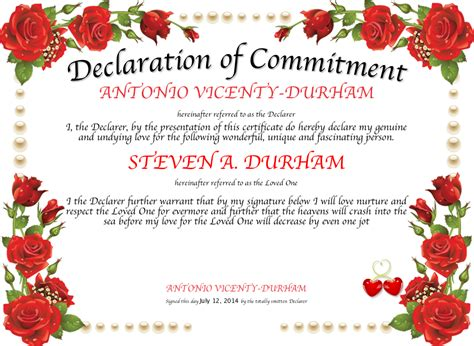 Declaration of Commitment Certificate   Created with
