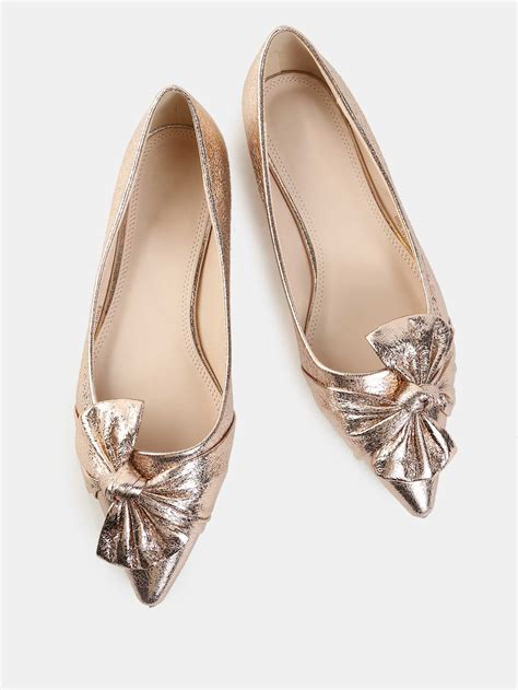 Pointy Bow Flats metallic bow pointy flats gold makemechic