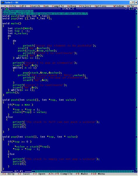 pattern programs in c using array implement stack in a array write algorithms stack