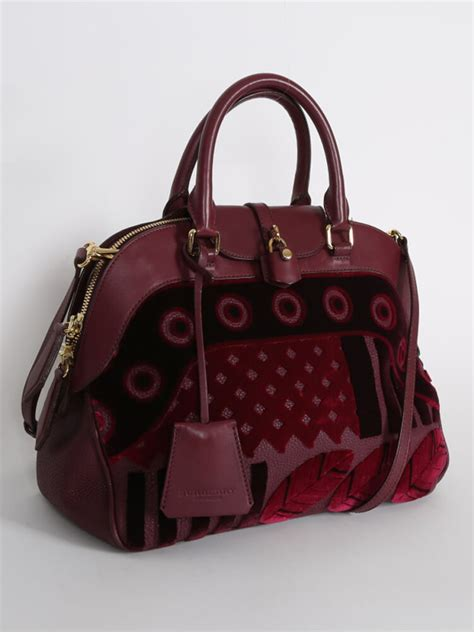 Burberry Dome Satchel by Burberry Velvet Dome Burgundy Bowling Bag Luxury Bags