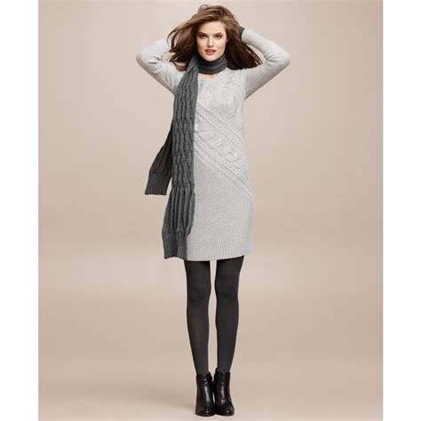 grey cable knit sweater dress dkny sleeve cable knit sweater dress in gray lyst