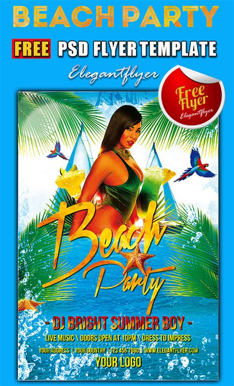 15 Free Beach Party Flyer Psd Templates Designyep Flyer Templates Free Psd