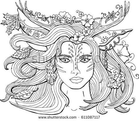 Vector Image Coloring Pages Adults Mermaid Stock
