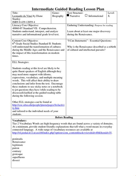 literacy lesson plan template 3 kindergarten lesson plan template teknoswitch