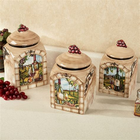 Wine Kitchen Canisters | tuscan view wine grapes kitchen canister set