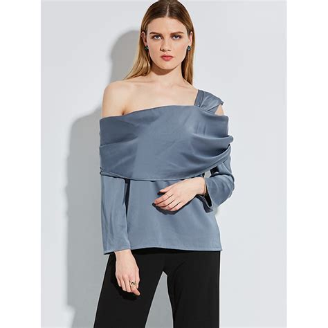 Plain Shoulder Blouse fashion one shoulder plain sleeve blouse top n14255
