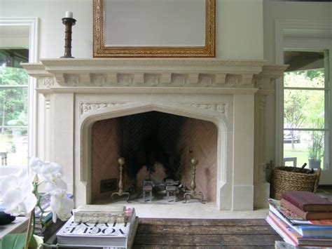 neo gothic limestone mantel with tudor rose details
