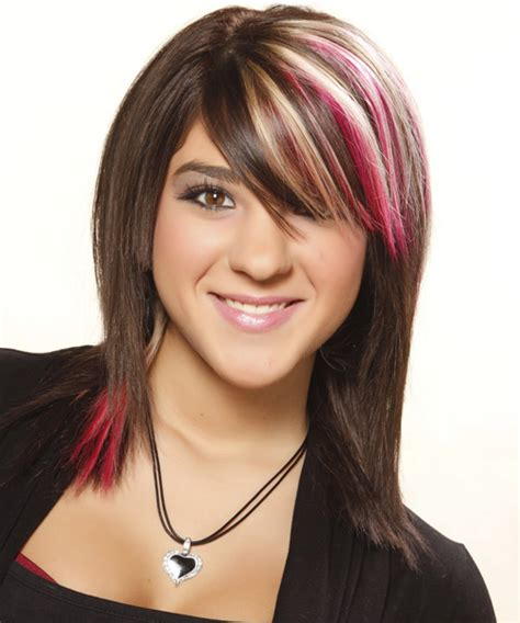 what bold colors would look good in medium brown hair medium straight casual hairstyle with side swept bangs