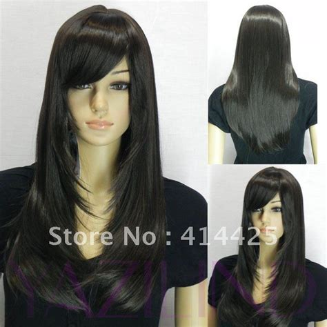 long hair styles with swoop bangs black hair natural looking black long straight side swept bangs full