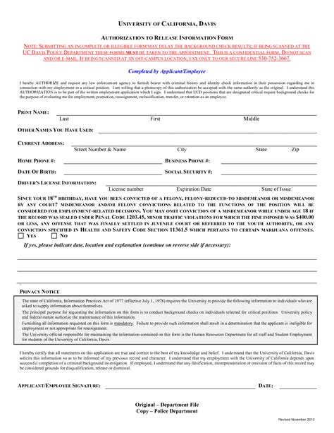 background check authorization form template template design