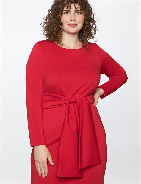 Dress Sabrina Tie Scuba Import sleeve scuba dress with tie s plus size