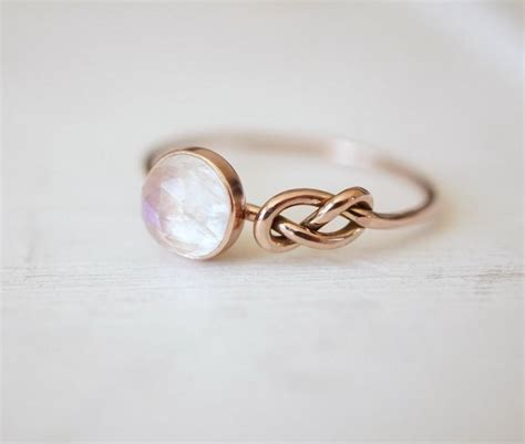 moonstone ring infinity knot ring engagement ring blue
