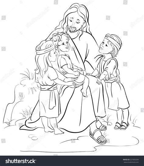 painting and coloring jesus and children colouring page also available colored