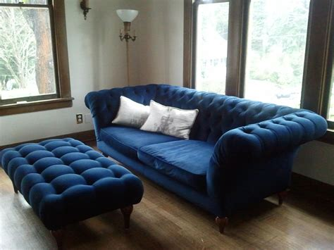 Blue Tufted Ottoman     It is gorgeous midnight blue velvet. $1000 for the sofa and ottoman