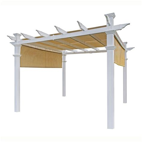 Vinyl Canopy New Arbors Malibu 10 Ft X 10 Ft White Vinyl