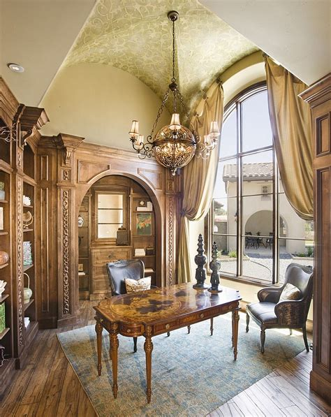 Custom Ceiling Designs by 25 Fabulous Home Offices That Unleash Mediterranean Magic