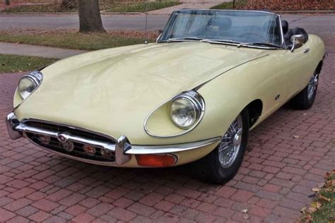 1971 jaguar xke e type roadster believed to be original primrose yellow paint classic jaguar