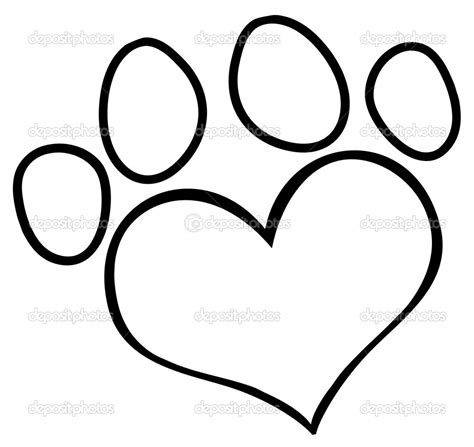 coloring page of dog paw prints paw print outline dog paw heart clip art depositphotos