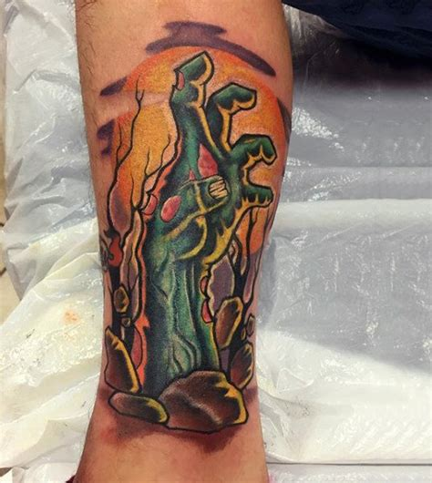 tattoo zombie hand 90 zombie tattoos for men masculine walking dead designs