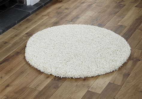 Large Circle Rugs by Large Modern Thick 5cm High Pile Plain Shaggy Circle