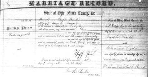 Tuscarawas County Ohio Marriage Records Paul Family