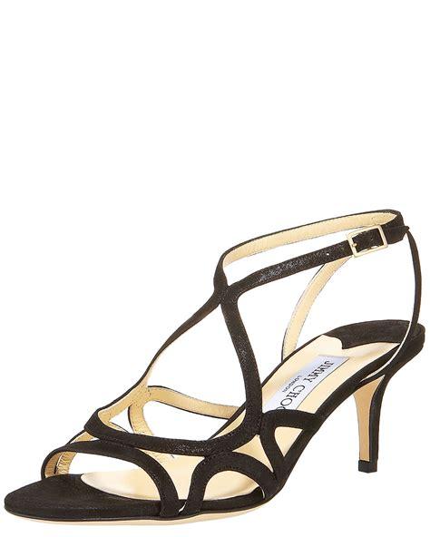 jimmy choo glittered strappy mid heel sandal in black lyst