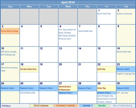 April 2016 Calendar With Holidays April 2016 Calendar With Holidays As Picture