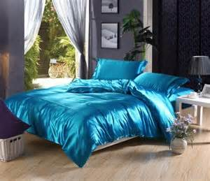 silk comforter set lakeblue imitated satin silk bedding cheap bedding sets