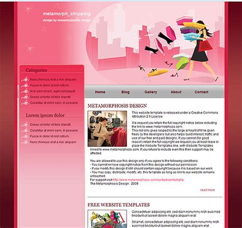 free css templates for shopping metamorphosis design free css website template