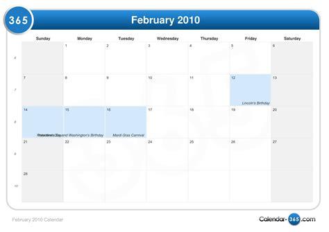 February 2010 Calendar February 2010 Calendar