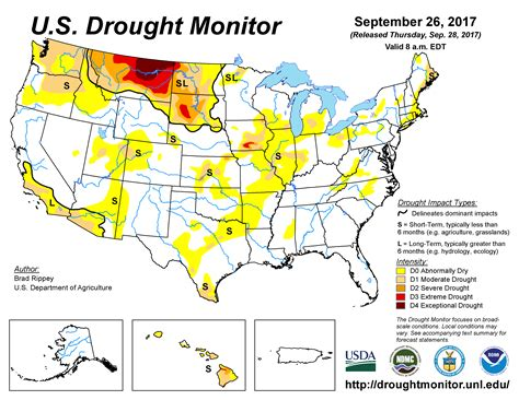 map us drought u s drought monitor update for september 26 2017
