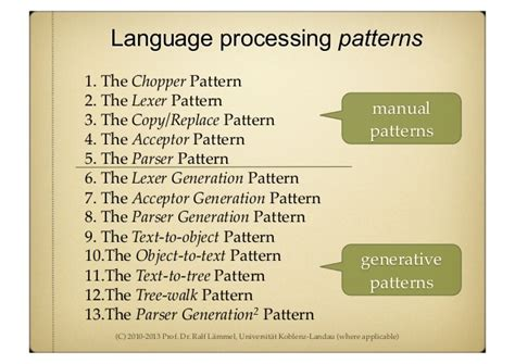 pattern language is generative generative programming mostly parser generation
