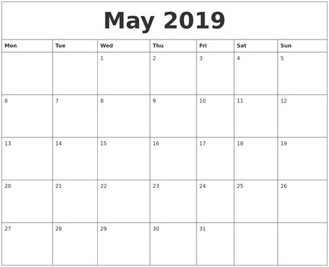 blank calendar template for may 2019 free blank calendar template