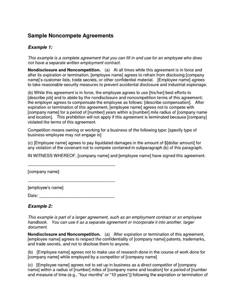 non compete agreement free template non compete agreement template lisamaurodesign