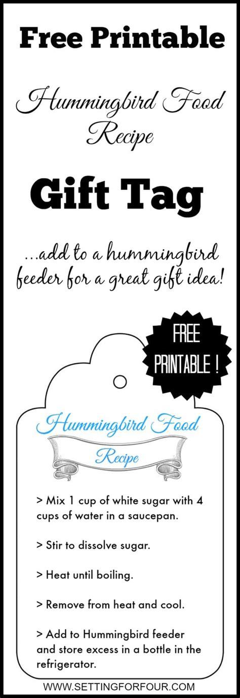 printable recipe tags free printable hummingbird food recipe gift tag