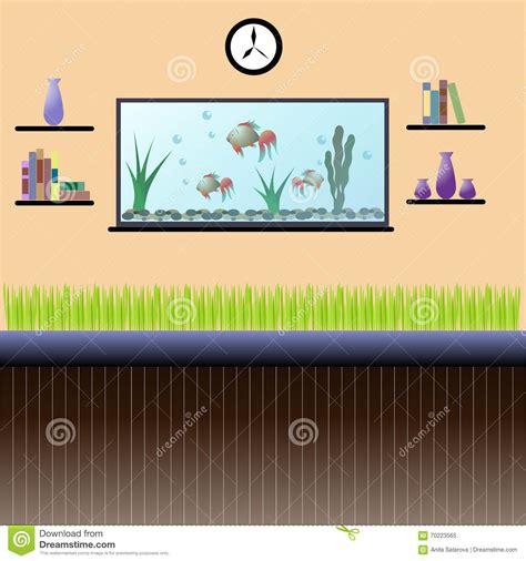 living room interior with aquarium bookshelves clock and