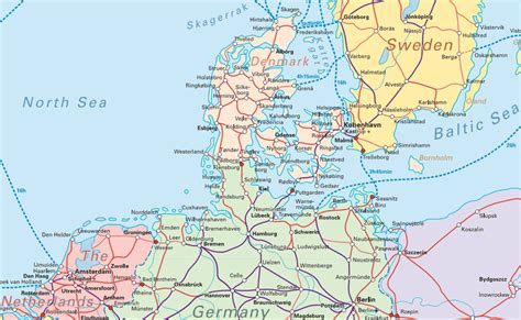 germany denmark map map of germany and denmark
