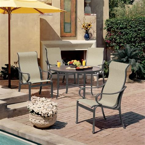 tropitone outdoor patio furniture torino sling dining patio set by tropitone