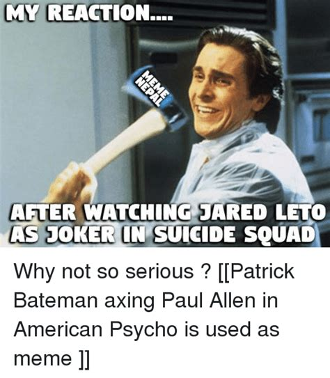 Patrick Bateman Meme - funny joker memes of 2017 on sizzle the joker meme