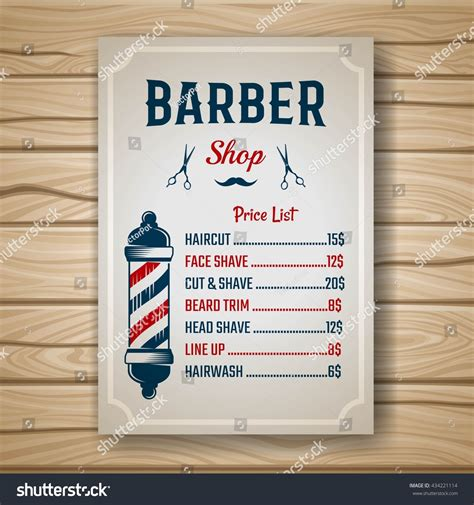 hairstyle price list barber shop colored price brochure list stock vector