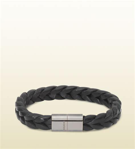 Leather Bracelet Black lyst gucci black woven leather bracelet in black for
