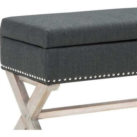 Polyester Upholstered Studded Storage Ottoman Grey Buy Studded Storage Ottoman