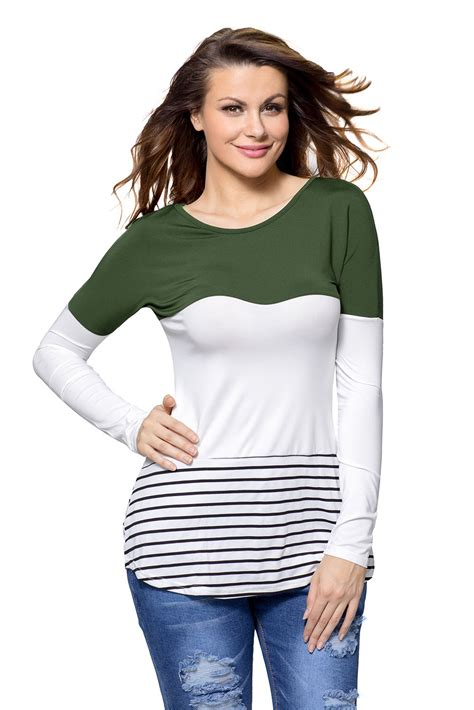 Sleeve Block Stripe White us 5 41 olive white color block striped sleeve blouse top dropshipping
